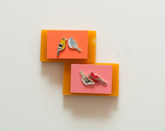 Misfit Enamel Bird Earrings | Enamel Jewelry | Stud Earrings | Song Bird | Post Earrings | Bird Jewelry