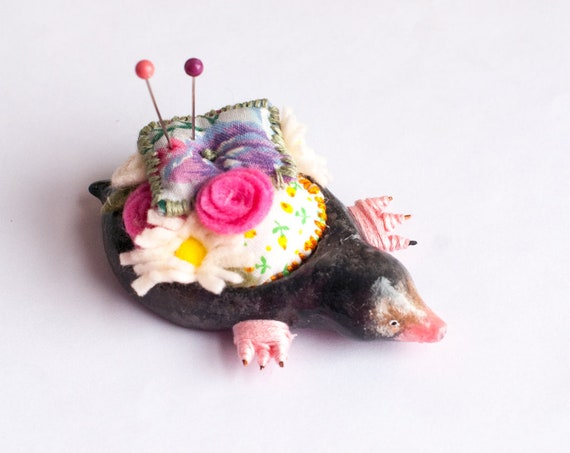 LaVerne the Mole Pin Cushion  | Mole Sculpture | Sewing Supplies | Mole Figurine | Limited Edition