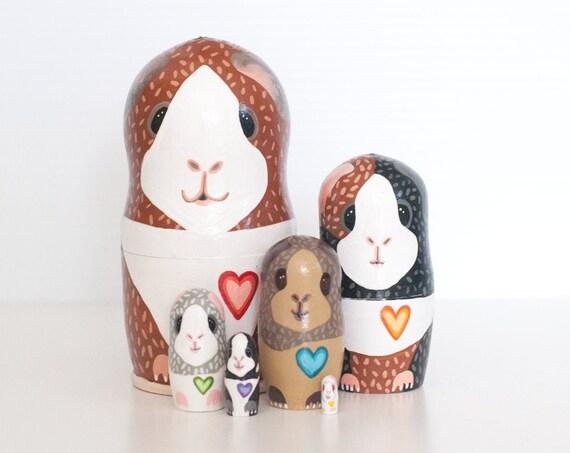 Guinea Pig Nesting Dolls / Matryoshka Russian Dolls / Set of 6 / Guinea Pig Dolls