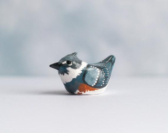 Belted Kingfisher Miniature | Bird Figurine