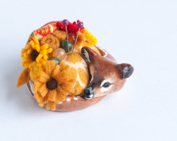 Baby Lou the Fawn Pin Cushion  | Deer Sculpture | Sewing Supplies | Fawn Deer Figurine | Limited Edition