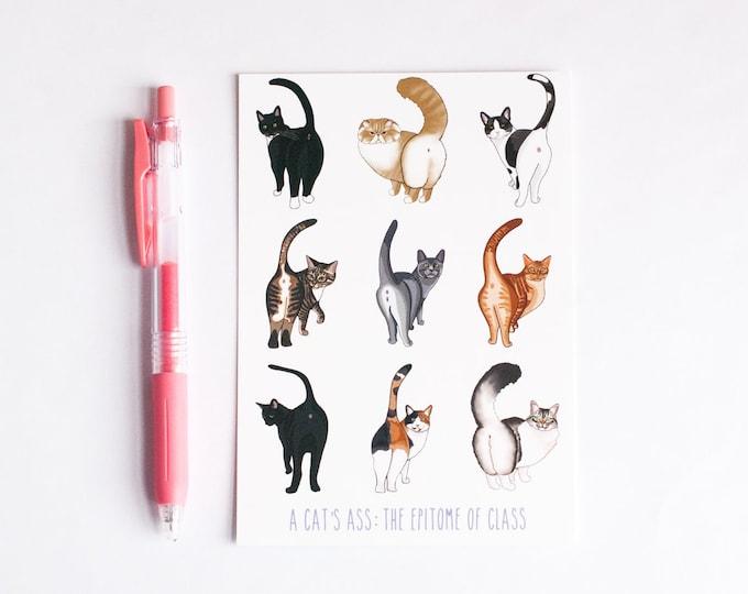 A Cat's Ass: The Epitome of Class Print | Cat Butt Print | Small Cat Print | Funny Cat Postcard