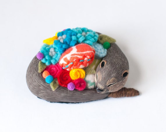 Zelda the River Otter Pin Cushion  | Otter Sculpture | Sewing Supplies | Otter Figurine | Limited Edition