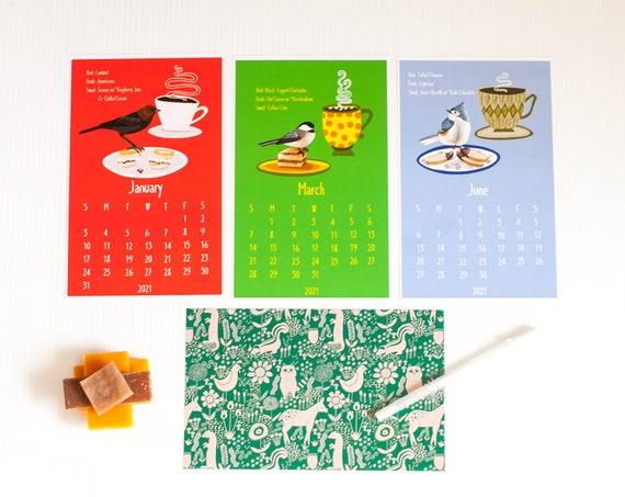 2021 Song Bird Cafe Wall Calendar / Bird Species Illustrations / Birds, Coffee, Baked Goods / 5x7 wall calendar / loose leaf calendar