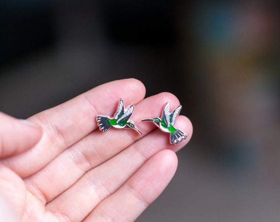 Hummingbird Earrings | Enamel Jewelry | Stud Earrings | Song Bird | Post Earrings | Bird Jewelry