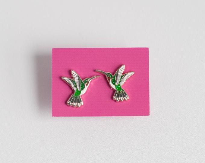 Hummingbird Earrings | Enamel Jewelry | Stud Earrings | Song Bird | Post Earrings | Bird Jewelry