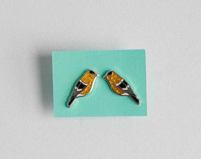 Goldfinch Earrings | Enamel Jewelry | Stud Earrings | Song Bird | Post Earrings | Bird Jewelry