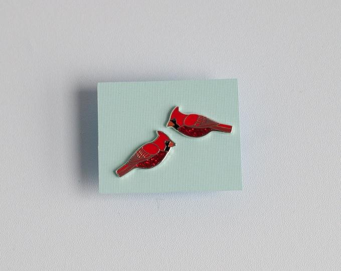 Cardinal Earrings | Enamel Jewelry | Stud Earrings | Song Bird | Post Earrings | Bird Jewelry