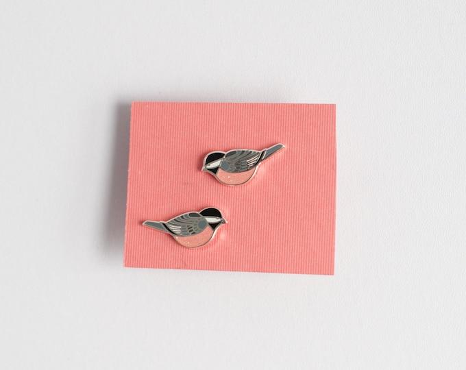 Chickadee Earrings | Enamel Jewelry | Stud Earrings | Song Bird | Post Earrings | Bird Jewelry