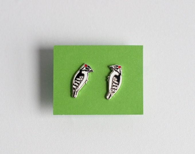 Downy Woodpecker Earrings | Enamel Jewelry | Stud Earrings | Song Bird | Post Earrings | Bird Jewelry