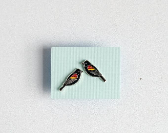 Redwing Blackbird Earrings | Enamel Jewelry | Stud Earrings | Song Bird | Post Earrings | Bird Jewelry