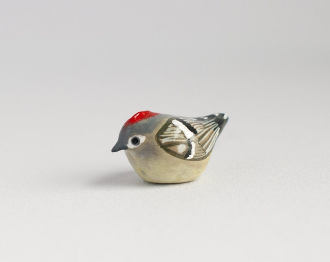 Ruby-Crowned Kinglet Miniature | Songbird | Bird Figurine