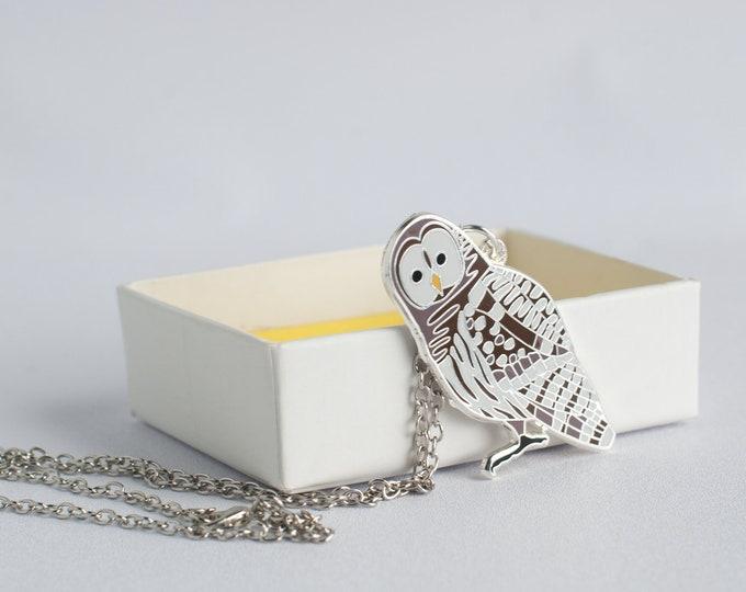 "Large Barred Owl Necklace | 2"" Owl Charm | Enamel Jewelry"