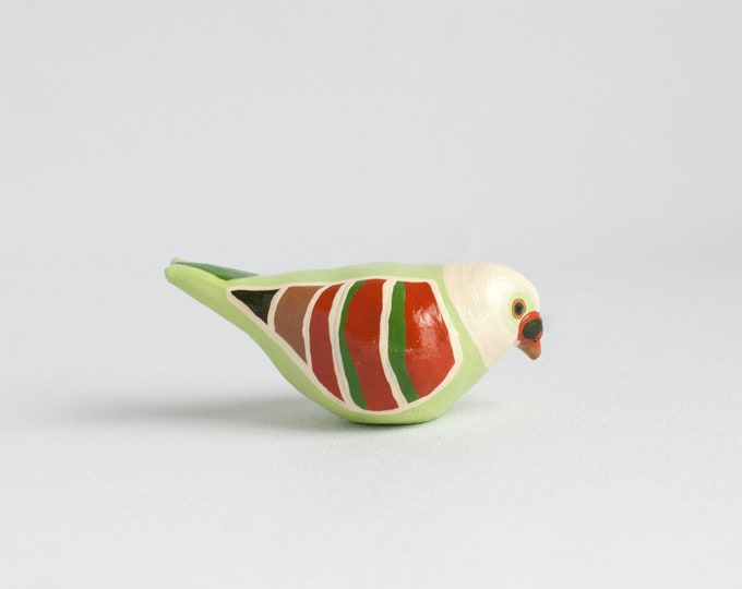 Pigeon Study: Lorna Doone Pistachio | Pigeon Figurine | Colorful Bird | Paperweight