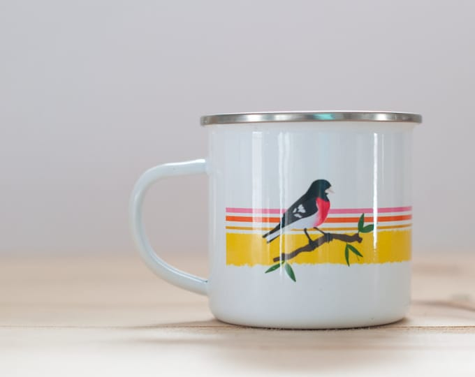 Rose-Breasted Grosbeak Enamel Coffee Mug| Bird Mug | 1970s Style Coffee Mug | 10oz Coffee Mug | Camp Mug