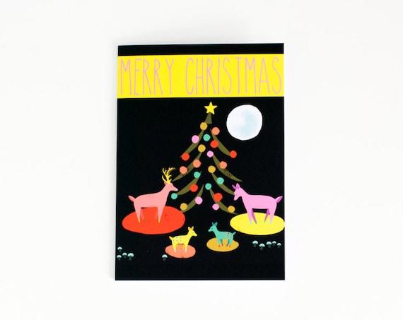 Merry Christmas Card | Reindeer Family | Christmas Tree | Holiday Card | Greeting Card