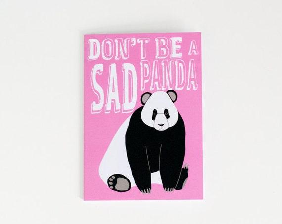 Don't Be a Sad Panda Greeting Card | Funny Card | Kinda Sorta Sympathy Card