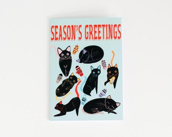 Seasons Greetings Card | Black Cats | Holiday Card | Greeting Card