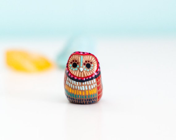 Owl Study 27   Barn Owl Totem / Colorful / Geometric / Owl Figurine / LIMITED EDITION