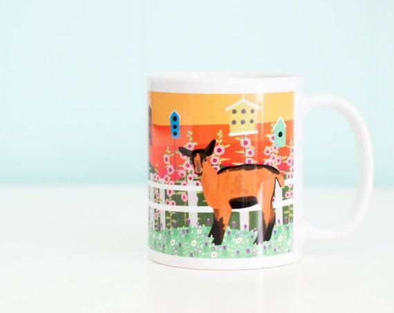 Goat Coffee Mug / Birdhouses and Clover / 11oz Coffee Mug