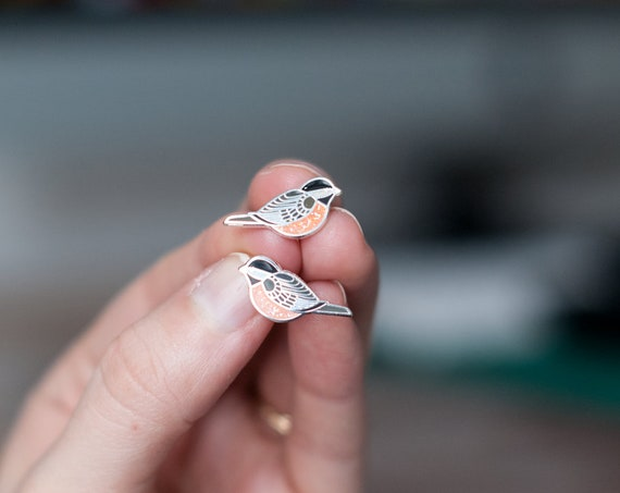 PREORDER Chickadee Earrings | Enamel Jewelry | Stud Earrings | Song Bird | Post Earrings | Bird Jewelry
