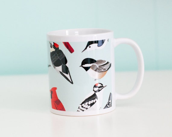 Bird Species Mug / Songbirds and Woodpeckers / 11oz Coffee Mug