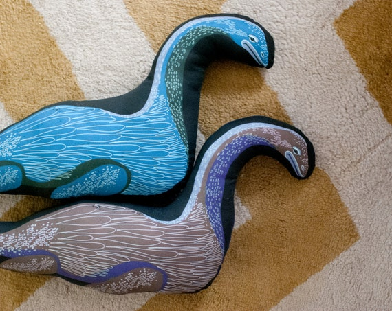 Loch Ness Monster Plushie / Nessie / Stuffed Animal / Nessie Pillow / Choose 2 Colors / Original Illustration
