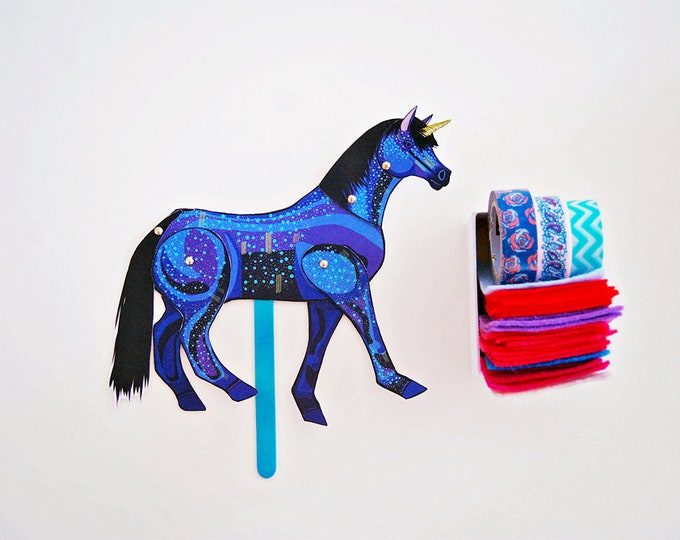 DIY Blue Unicorn Paper Doll / DIGITAL DOWNLOAD / Articulated Doll / Party Supplies / Party Favor for Birthday
