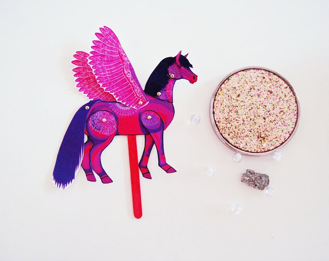 DIY Pink Pegasus Horse Paper Doll / DIGITAL DOWNLOAD / Articulated Doll / Party Supplies / Party Favor for Birthday