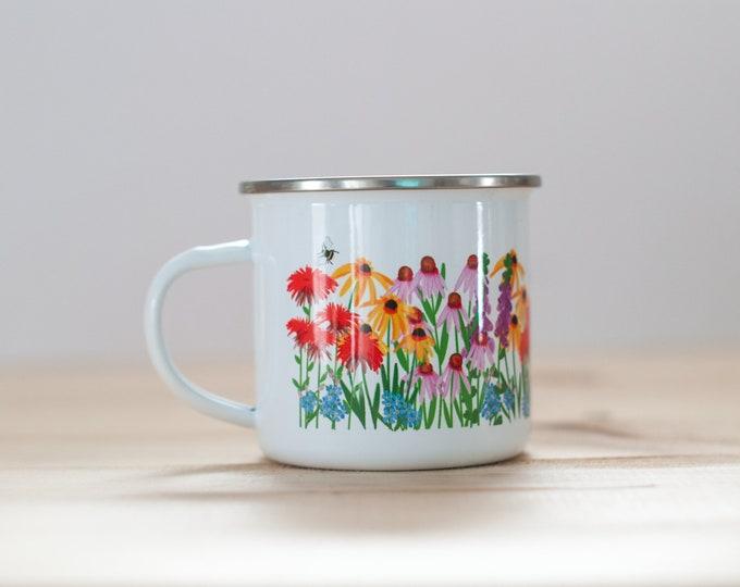 Wildflower and Bumblebee ENAMEL Coffee Mug | Meadow Coffee Mug | 10oz Coffee Mug | Nature Lover | Gift for Gardener | Camp Mug