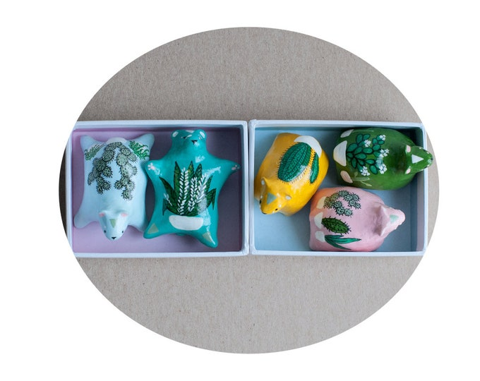 Plant Healing Bears   Choose Your Bear   Bear Figurines with Plant Motif   Gift for Crazy Plant People