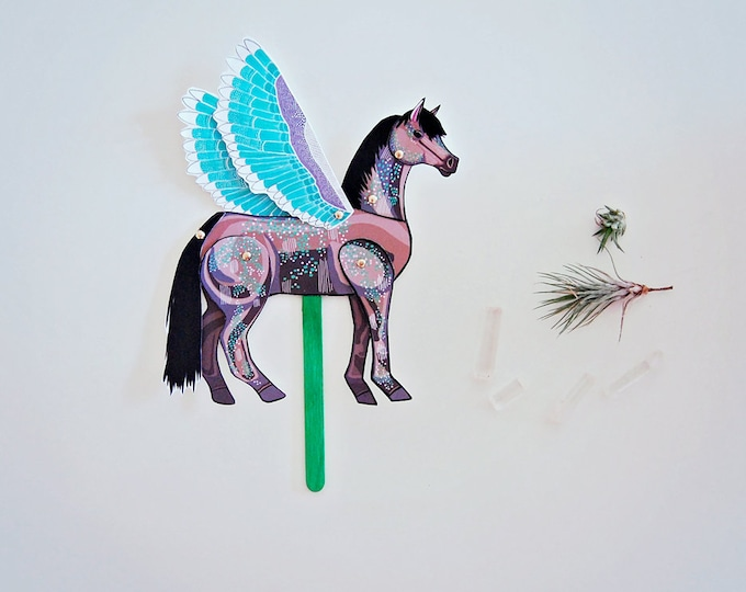 DIY Pegasus Horse Paper Doll / DIGITAL DOWNLOAD / Articulated Doll / Party Supplies / Party Favor for Birthday