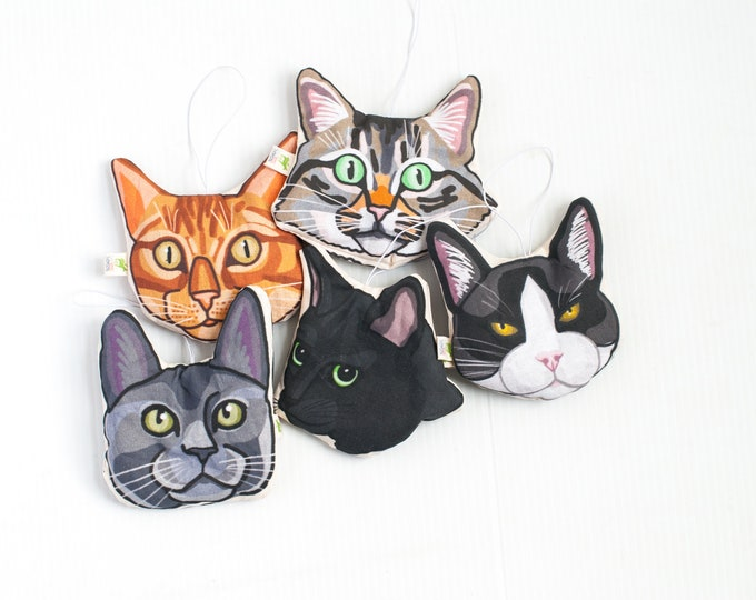 Cat Head Car Air Freshener | Lavender Sachet | Choose from 5 Different Cat Breeds | Rear View Mirror Decoration | Car Refresher