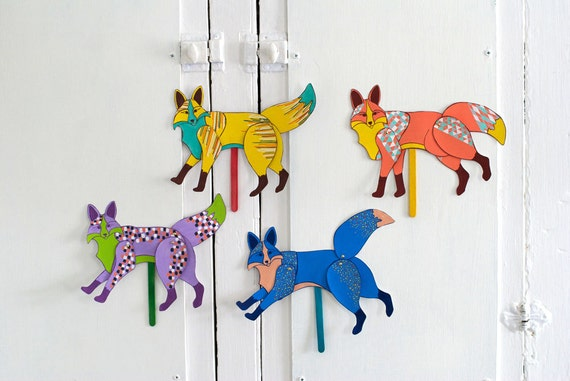 Fox Articulated Doll / Pick Your Fox / Puppet / Colorful / Movable / Paper Doll /PARTY FAVOR for Birthday