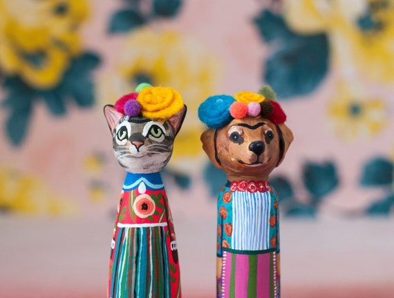 Custom Pet Peg Dolls | Turn Your Pet Into Frida Kahlo | Frida Kahlo Peg Dolls | With Felted Flower Crowns | CUSTOMIZABLE Pet Peg Dolls