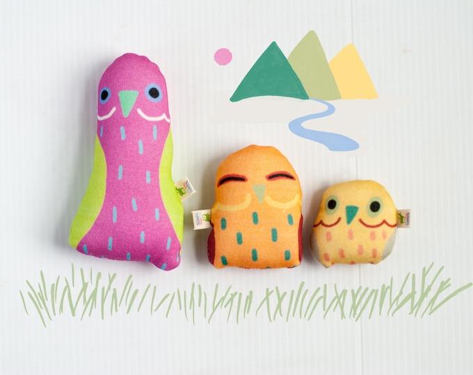 Derpy Little BirBs Mini Plushies | Set of 3 | Nursery Decor | Cute Little Bird Pillows
