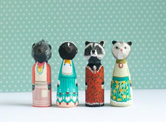 Woodland Animal Peg Dolls | Unloved Creature Peg Dolls | Animals Wearing Dresses | Skunk, Opossum, Porcupine, and Raccoon Peg Dolls