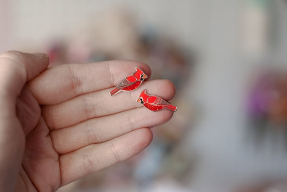 Cardinal Earrings | Enamel Jewelry | Stud Earrings | Song Bird | Post Earrings | Bird Jewelry