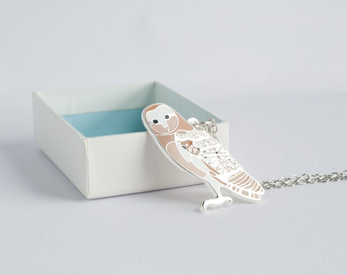 "Large Barn Owl Necklace | 2"" Owl Charm | Enamel Jewelry"