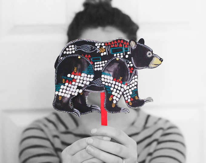 DIY Black Bear Articulated Doll / DIGITAL DOWNLOAD / Bear Puppet / Party Favor for Birthday