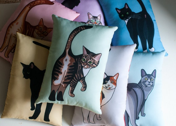 Choose Your Cat Butt Pillow / Choose from 9 Different Cats / Funny Illustration / Original Art / Colorful / NEW Cats ADDED!