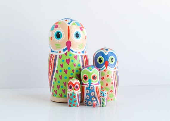Owl Nesting Dolls / Matryoshka Russian Dolls / Set of 5 / Colorful / Geometric / Owl Dolls