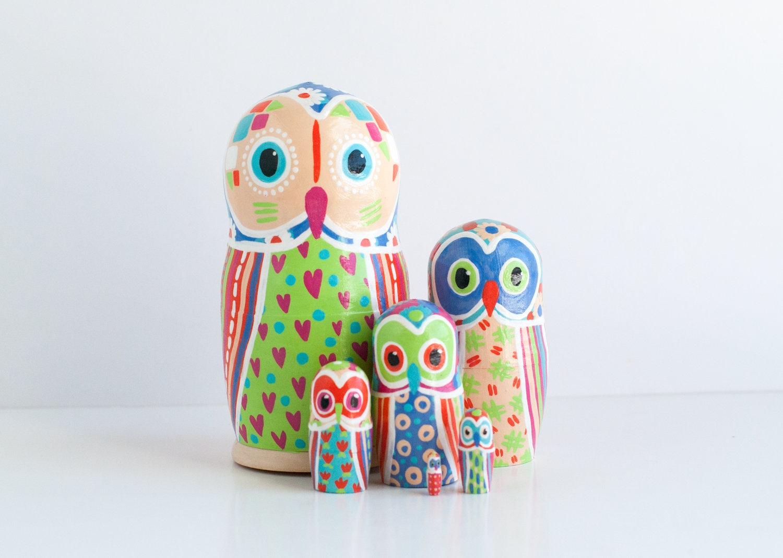 Russian Hand Painted Owls Nesting Dolls Set of 3 Matryoshka