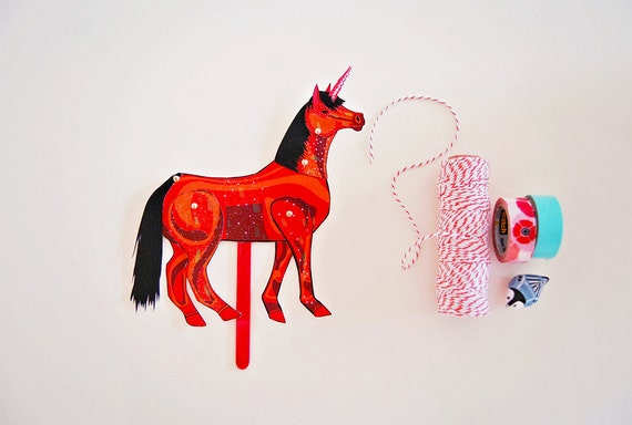 DIY Red Unicorn Paper Doll / DIGITAL DOWNLOAD / Articulated Doll / Party Supplies / Party Favor for Birthday