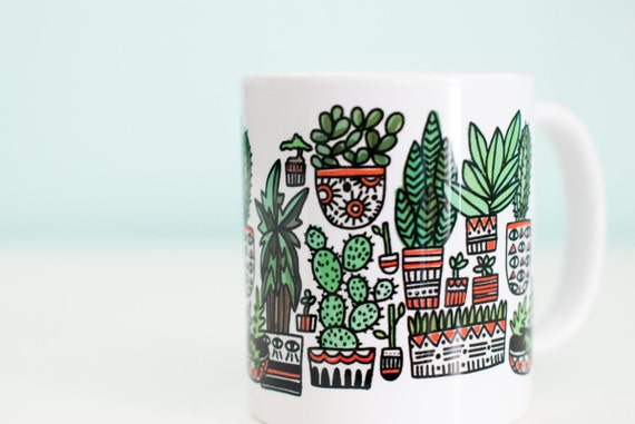 Plant Coffee Mug / Succulents and Cactus / 11oz Coffee Mug