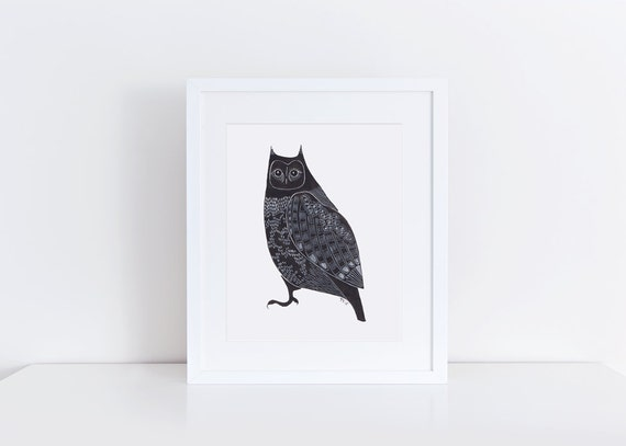Owl Print / 5x7 Original Illustration Print / Folk Art / Black and White / Great Horned Owl Art