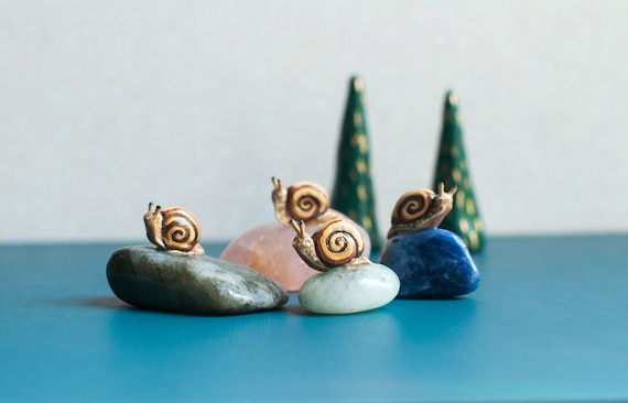 The Carriers of Little Achievements: Mini Sacred Snail Sculptures on Crystals | Choose Your Crystal | A Creature of One Wilderness