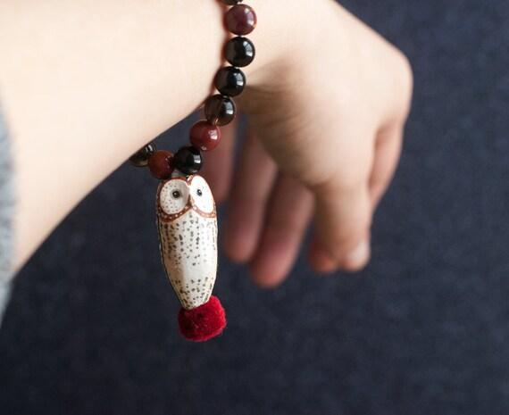 Sacred Barn Owl Mala Bracelet: Root Chakra | Mookaite Jasper, Smoky Quartz, Black Tourmaline | A Creature of One Wilderness