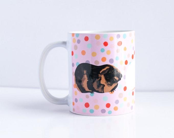 Guinea Pig Coffee Mug | Guinea Pigs with Polka Dots Coffee Mug | 11oz Coffee Mug | For Guinea Pig Lovers
