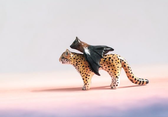 Cheetah & Fruit Bat: Best Friends Animal Collection | Clay Animal Figurines